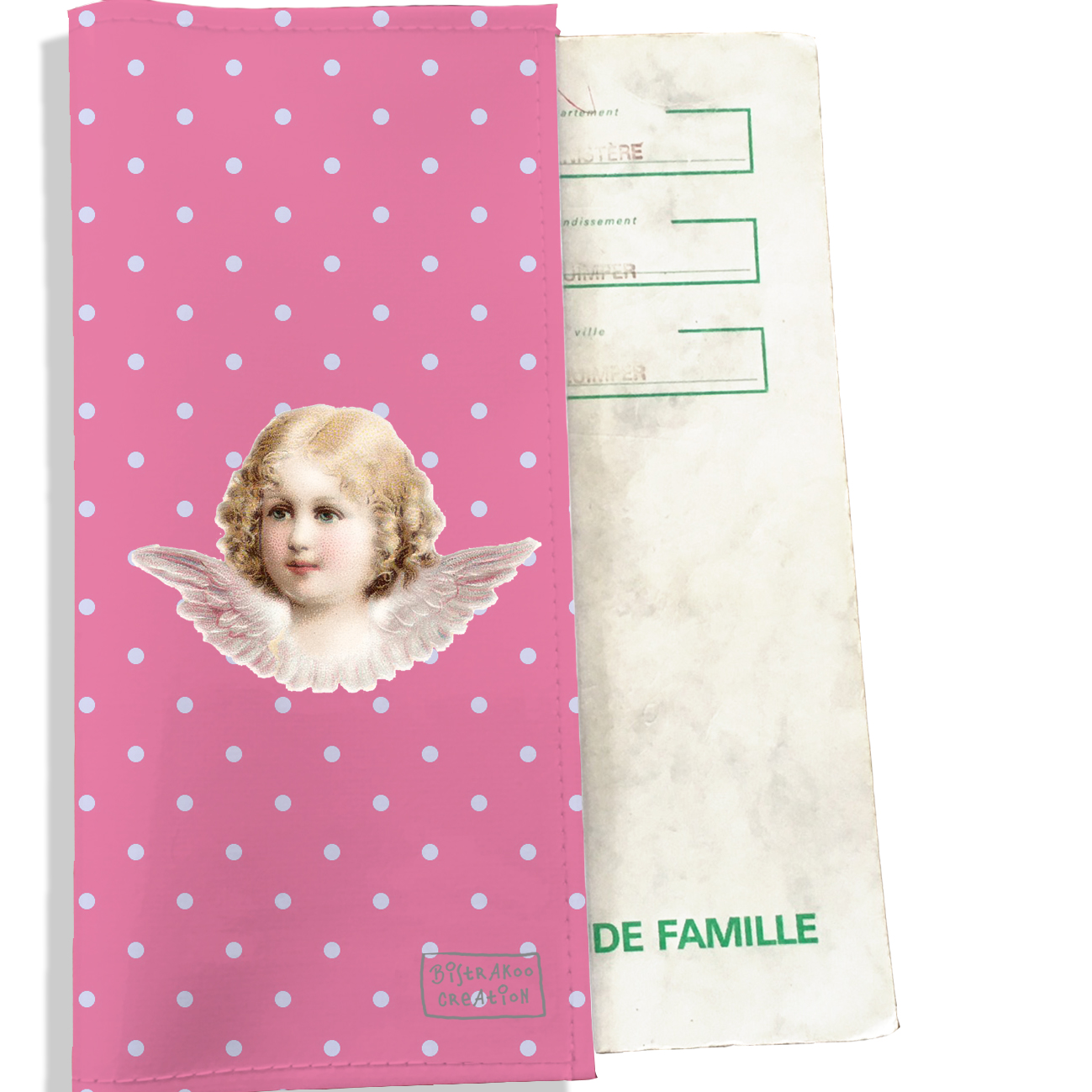 Protège livret de famille motif Ange fond rose pois bleu ciel L1493