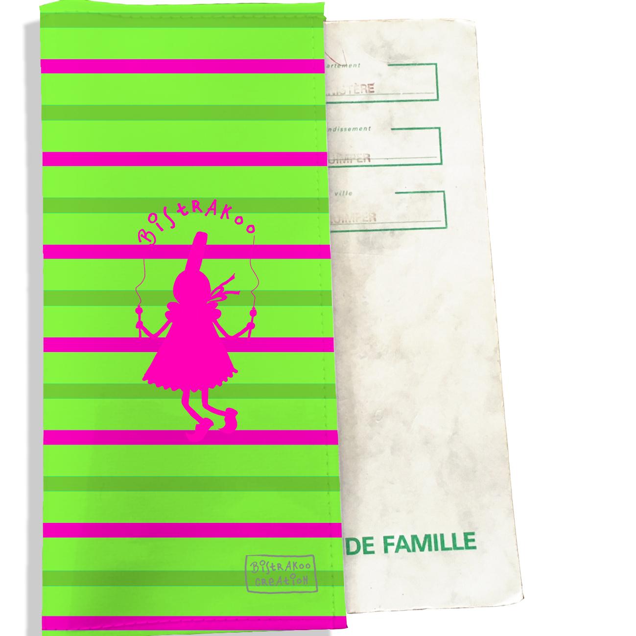 Protège livret de famille motif Bigoudène fushia marinière multicolore L1045