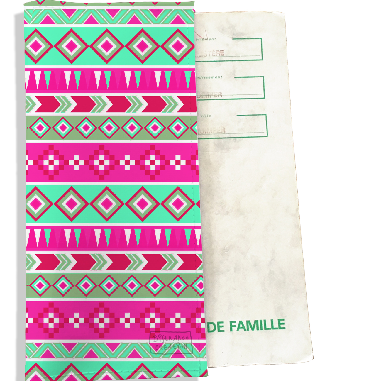 Protège livret de famille motif Aztec multicolore 2317
