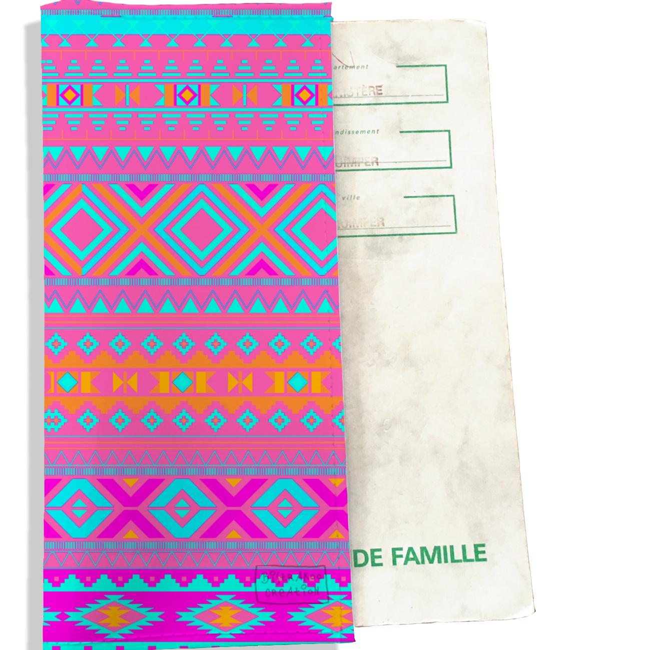 Protège livret de famille motif Aztec multicolore 2509