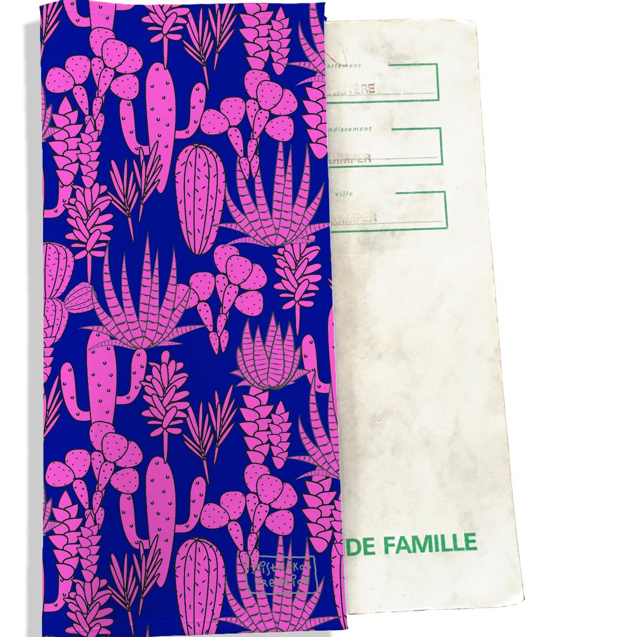 Protège livret de famille motif Cactus roses fond bleu 4085-2018