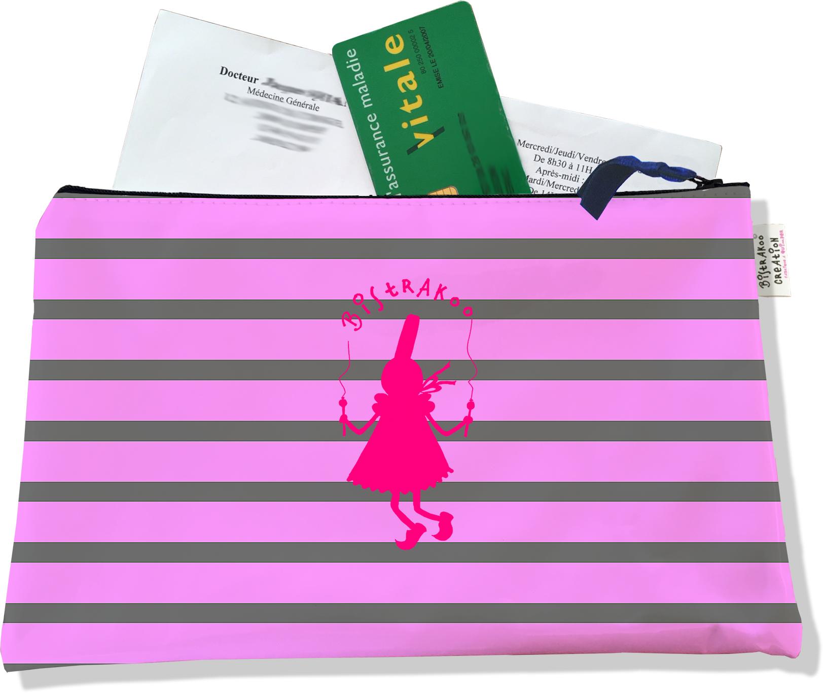 Porte ordonnances zippé pour femme motif Bigoudène Bistrakoo fond marinière gris et rose 2017