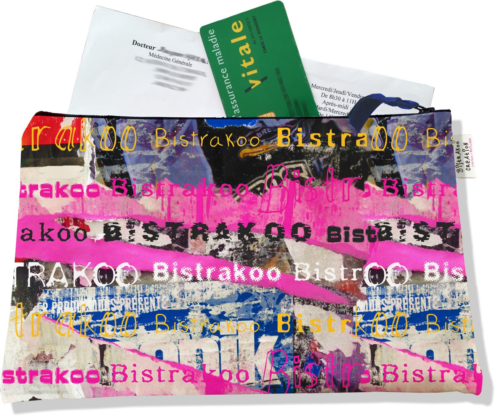 Porte ordonnances zippé pour femme motif Affiches lacérées Bistrakoo 2290