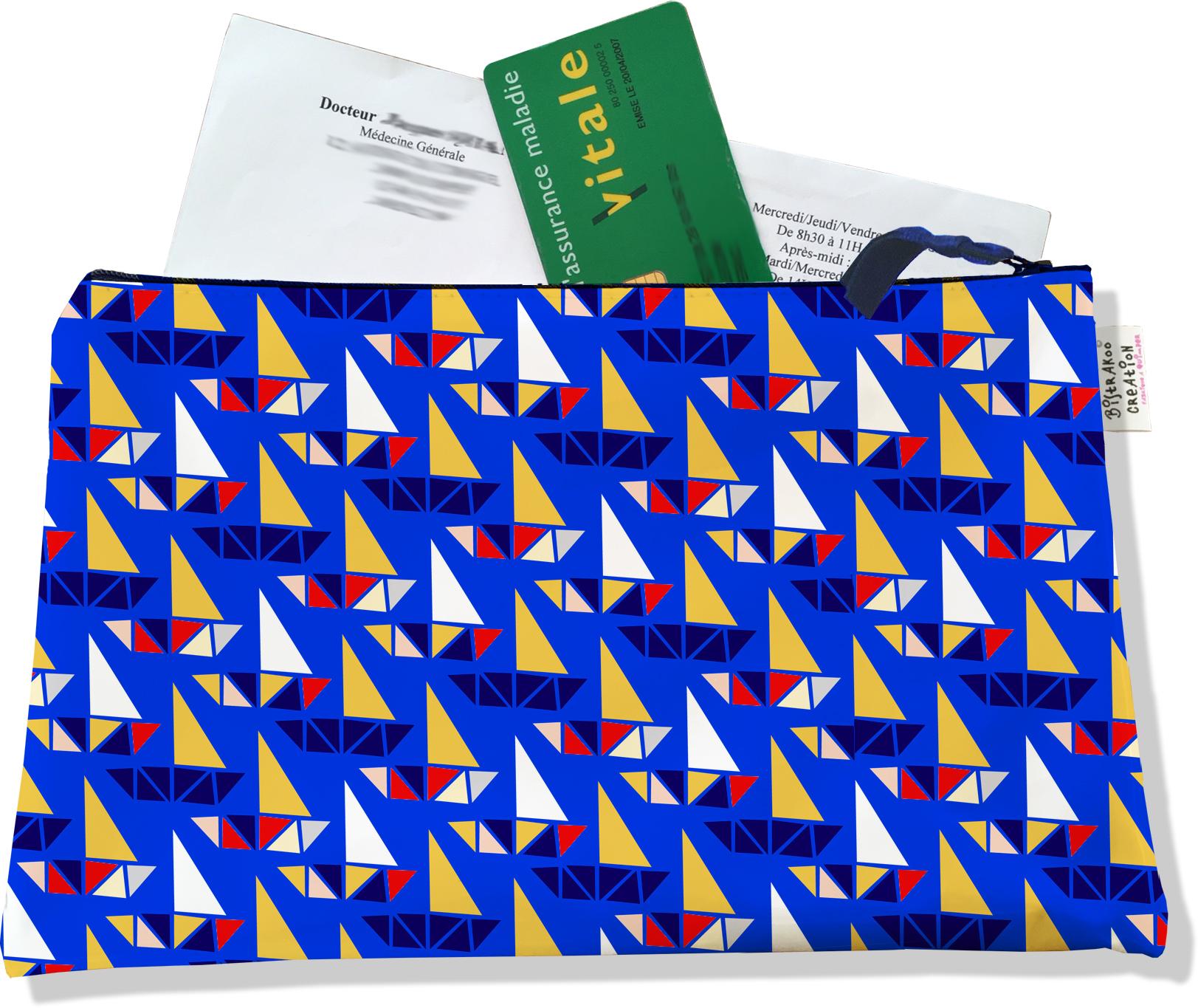 Porte ordonnances zippé pour femme motif Bateaux multicolores fond bleu 4037