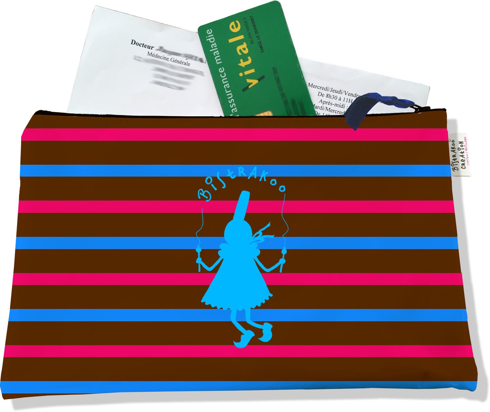 Porte ordonnances zippé pour femme motif Bigoudène Bistrakoo bleue fond marinière multicolore 684