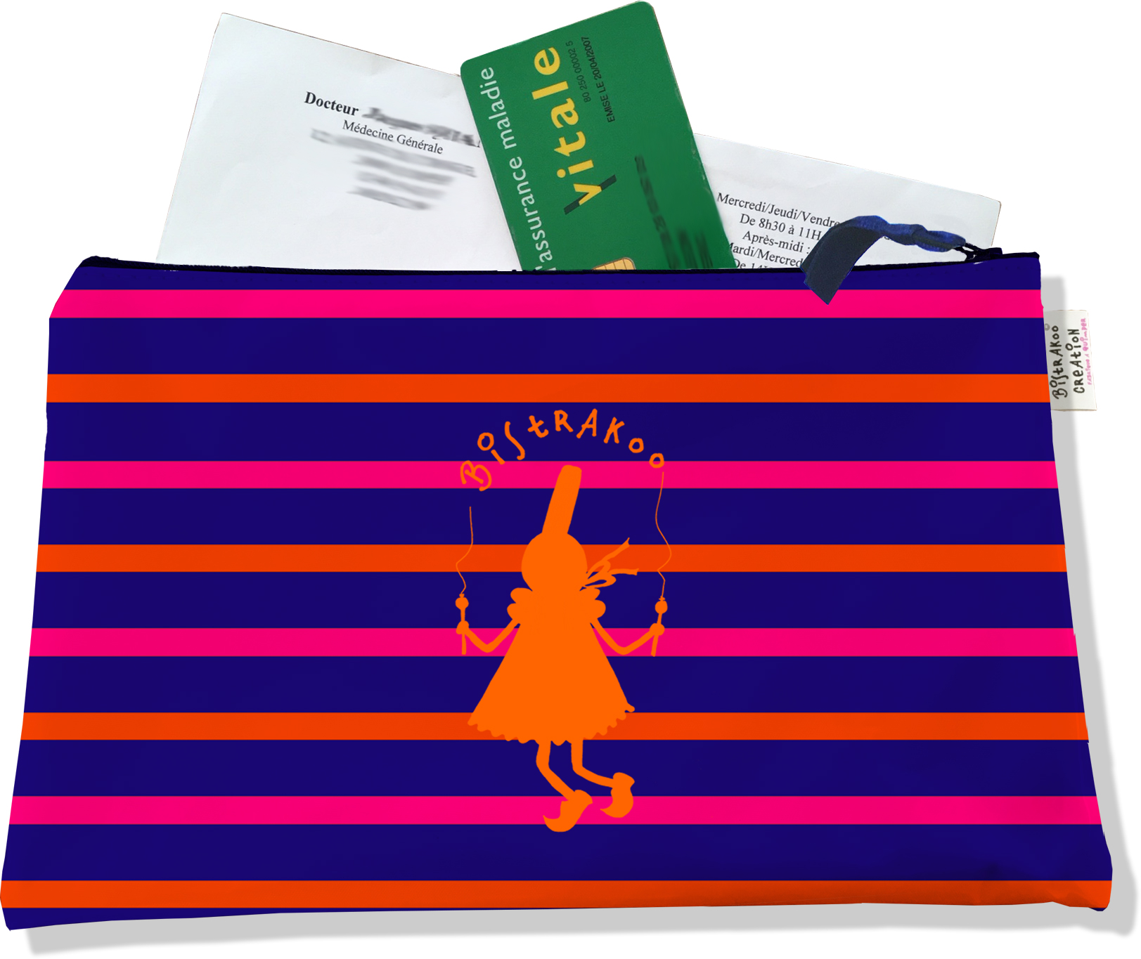 Porte ordonnances zippé pour femme motif Bigoudène Bistrakoo orange fond marinière multicolore 683