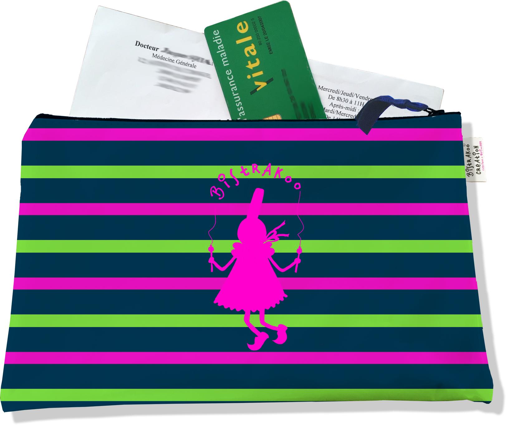 Porte ordonnances zippé pour femme motif Bigoudène Bistrakoo rose fond marinière multicolore 895