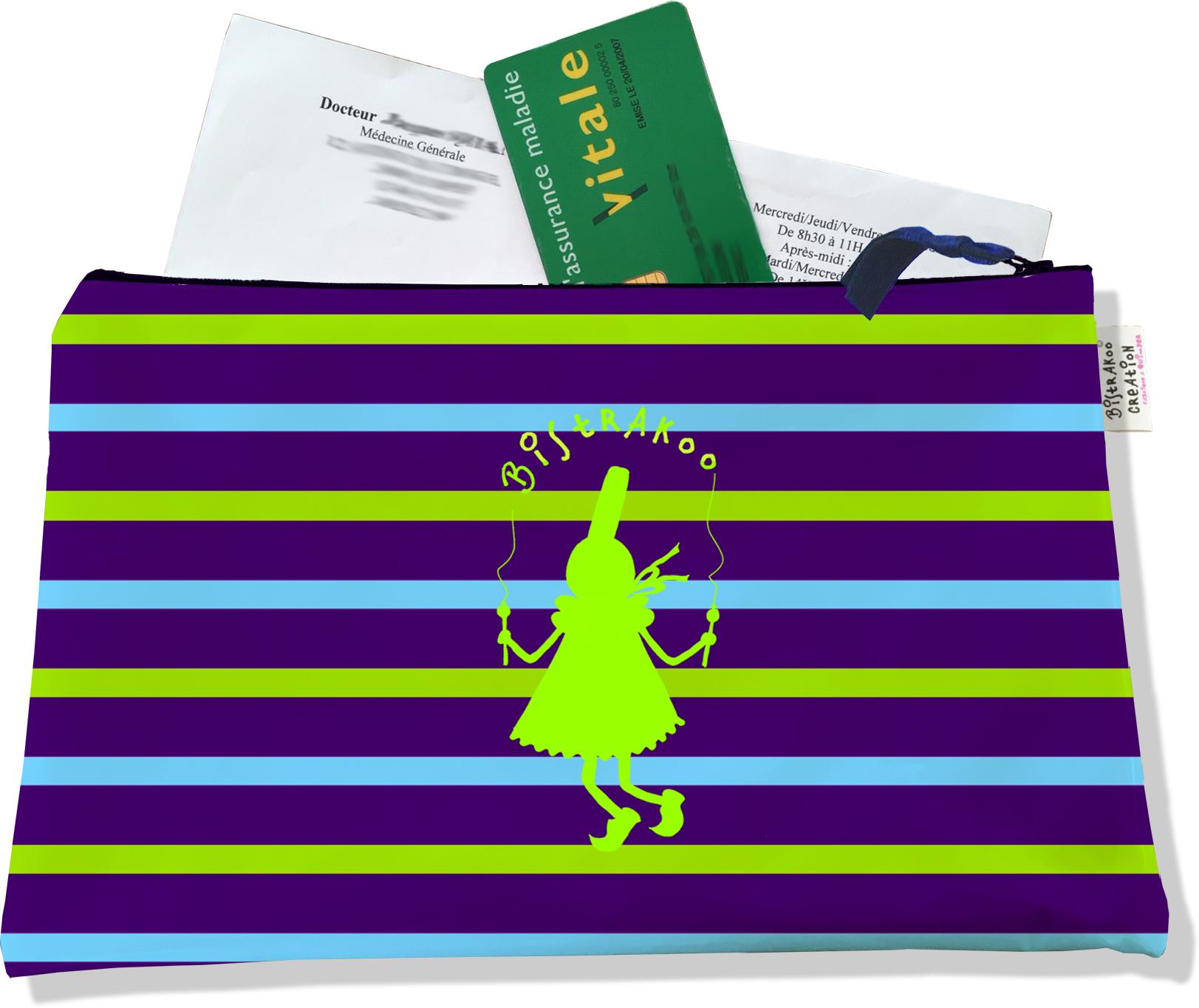 Porte ordonnances zippé pour femme motif Bigoudène Bistrakoo verte fond marinière multicolore 686