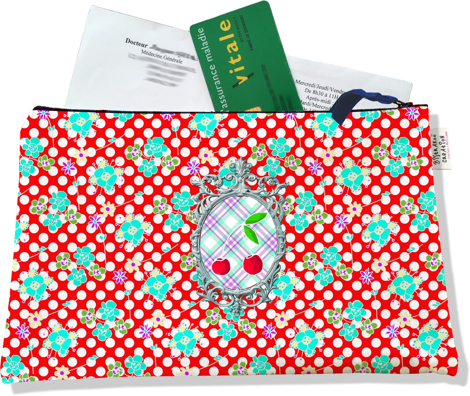 Porte ordonnances zippé pour femme motif Cerises fond rouge 638
