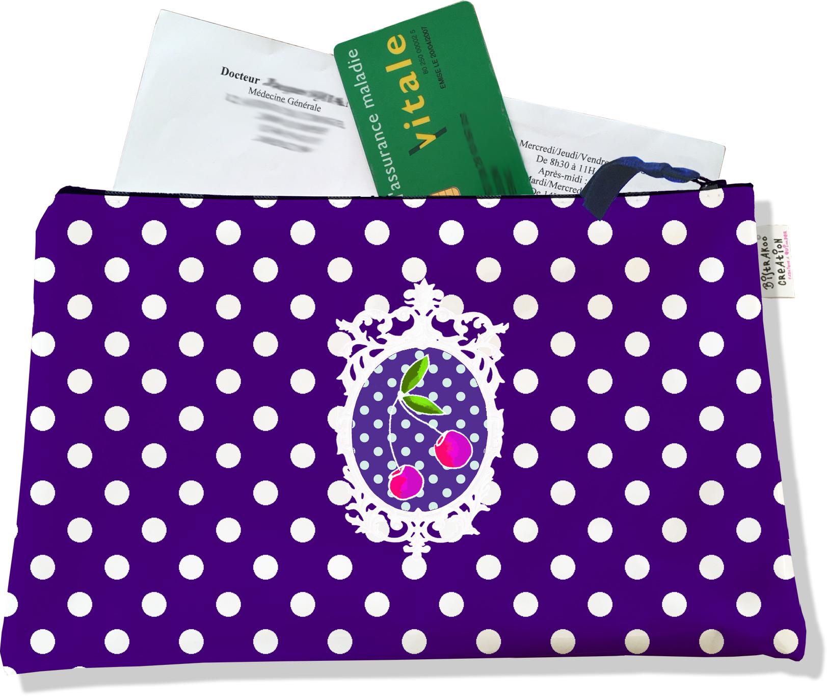 Porte ordonnances zippé pour femme motif Cerises pois blancs fond violet 823