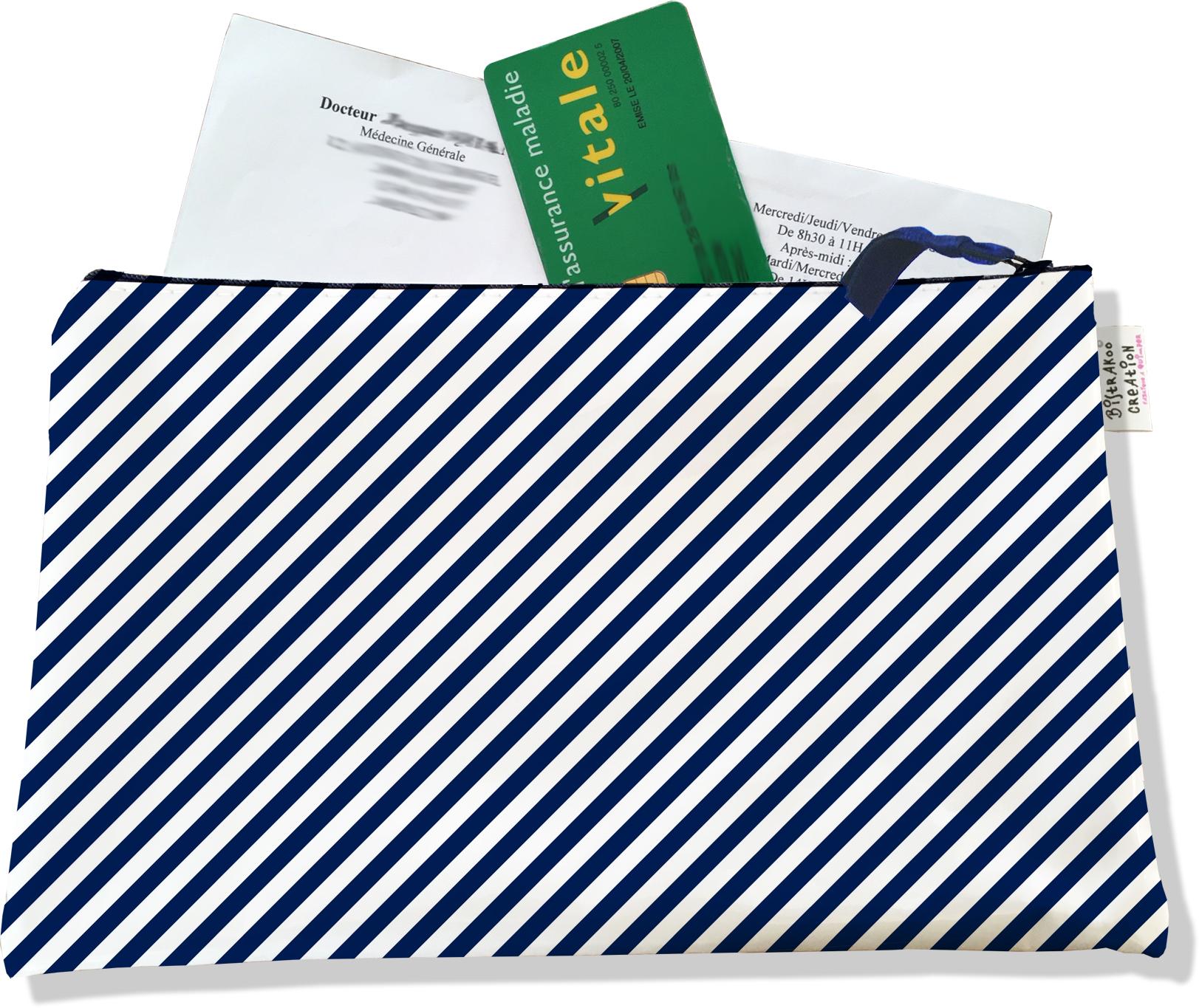 Porte ordonnances zippé pour homme motif Lignes transversales bleu marine 2074