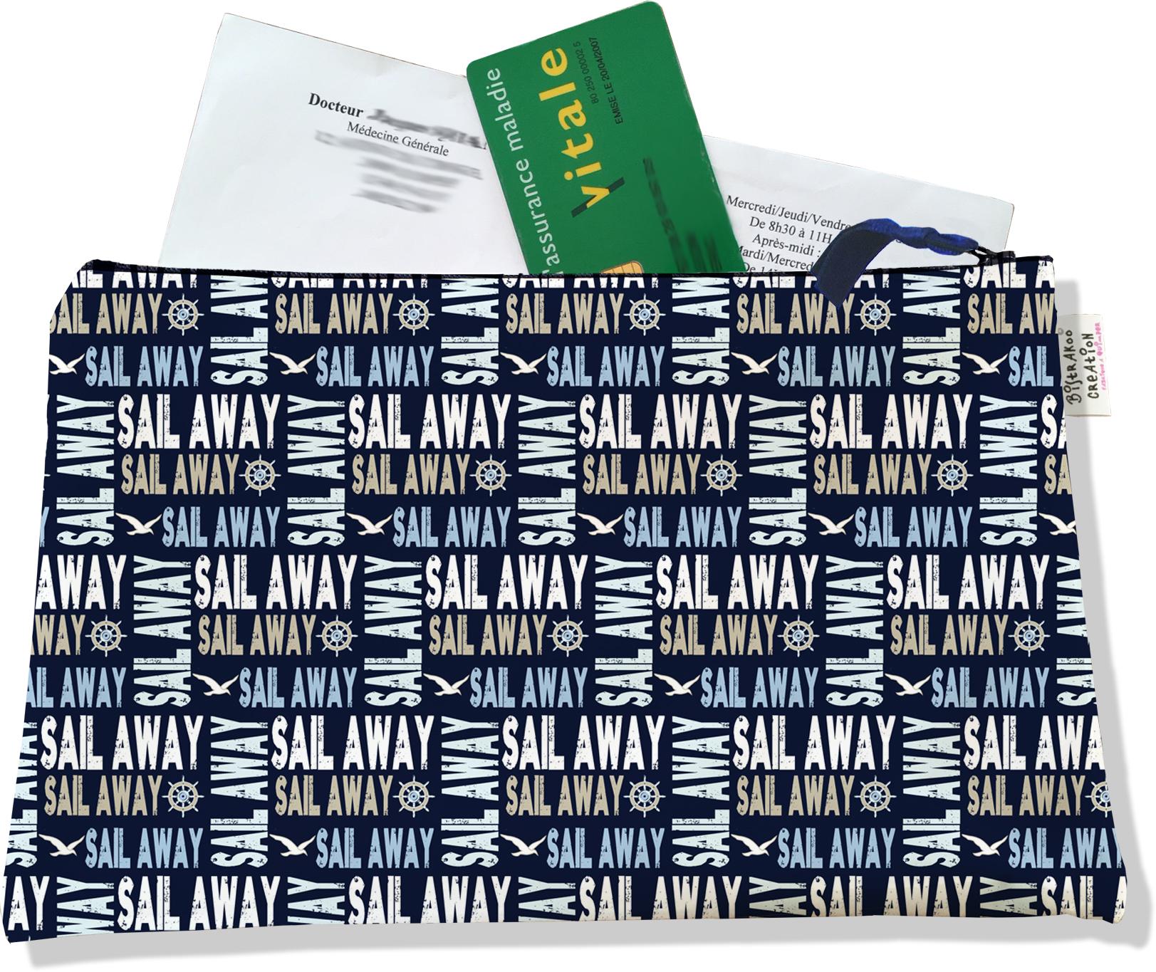 Porte ordonnances zippé pour homme motif Sail Away fond bleu marine 2142