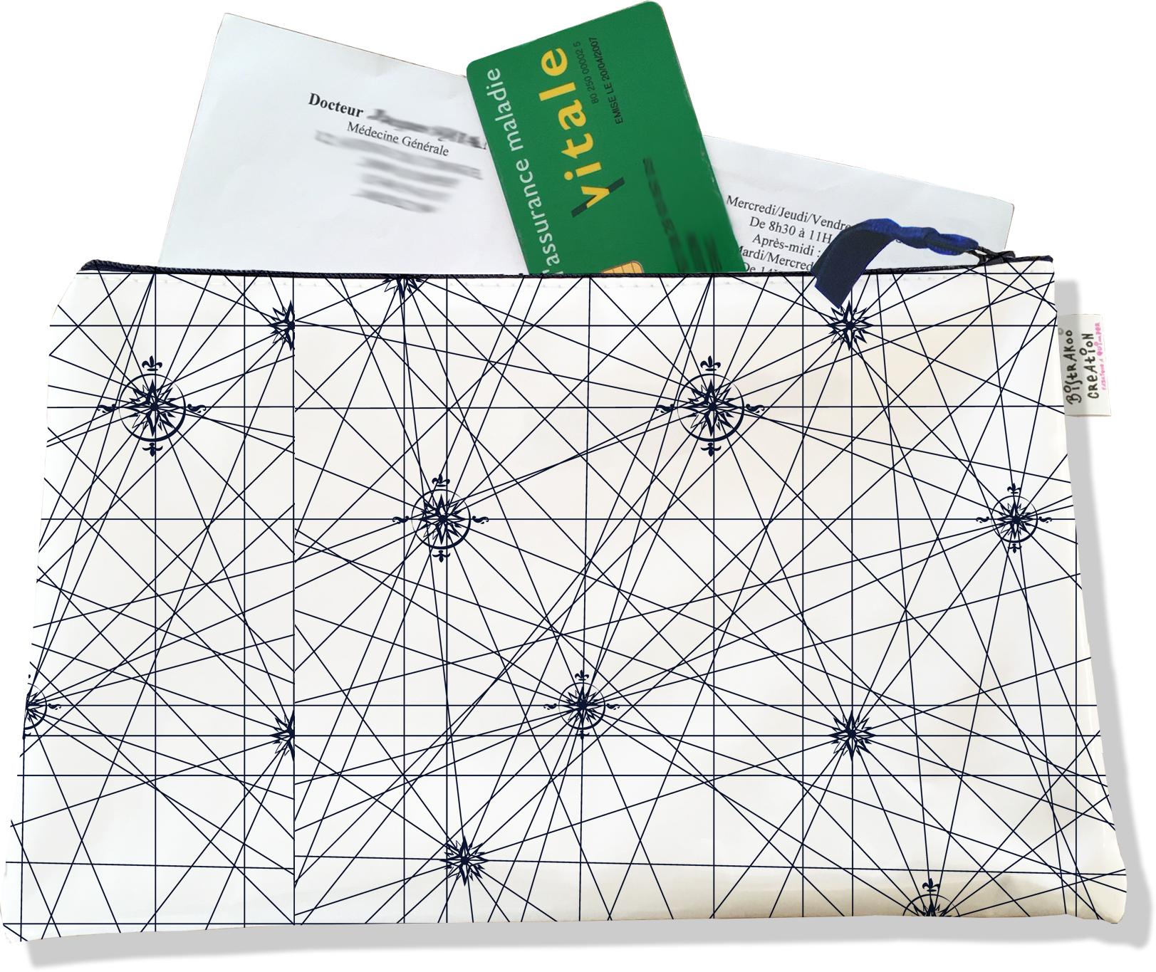 Porte ordonnances zippé pour homme motif Carte bleu marine 2137