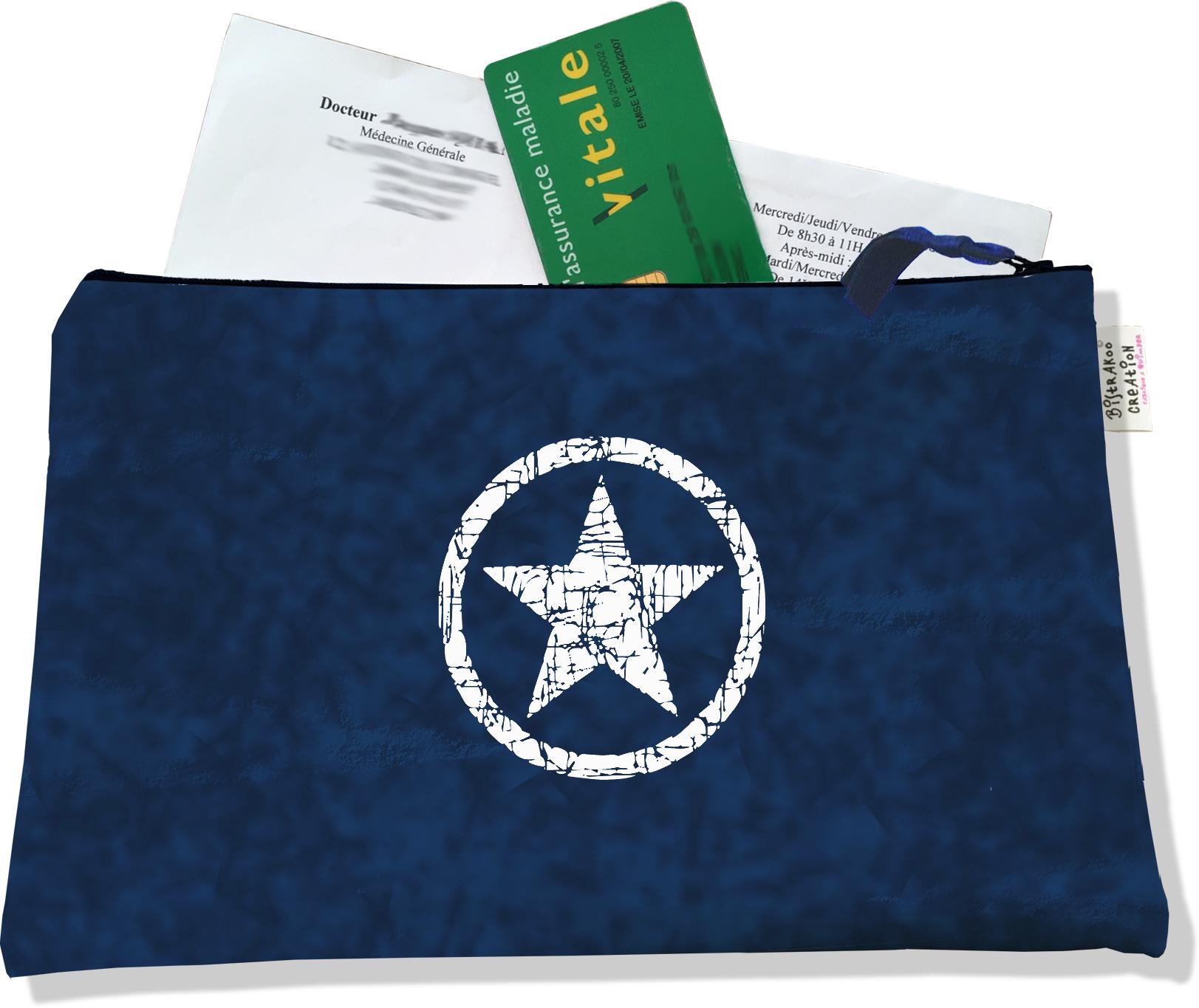 Porte ordonnances zippé pour homme motif Etoile blanche fond bleu marine 925
