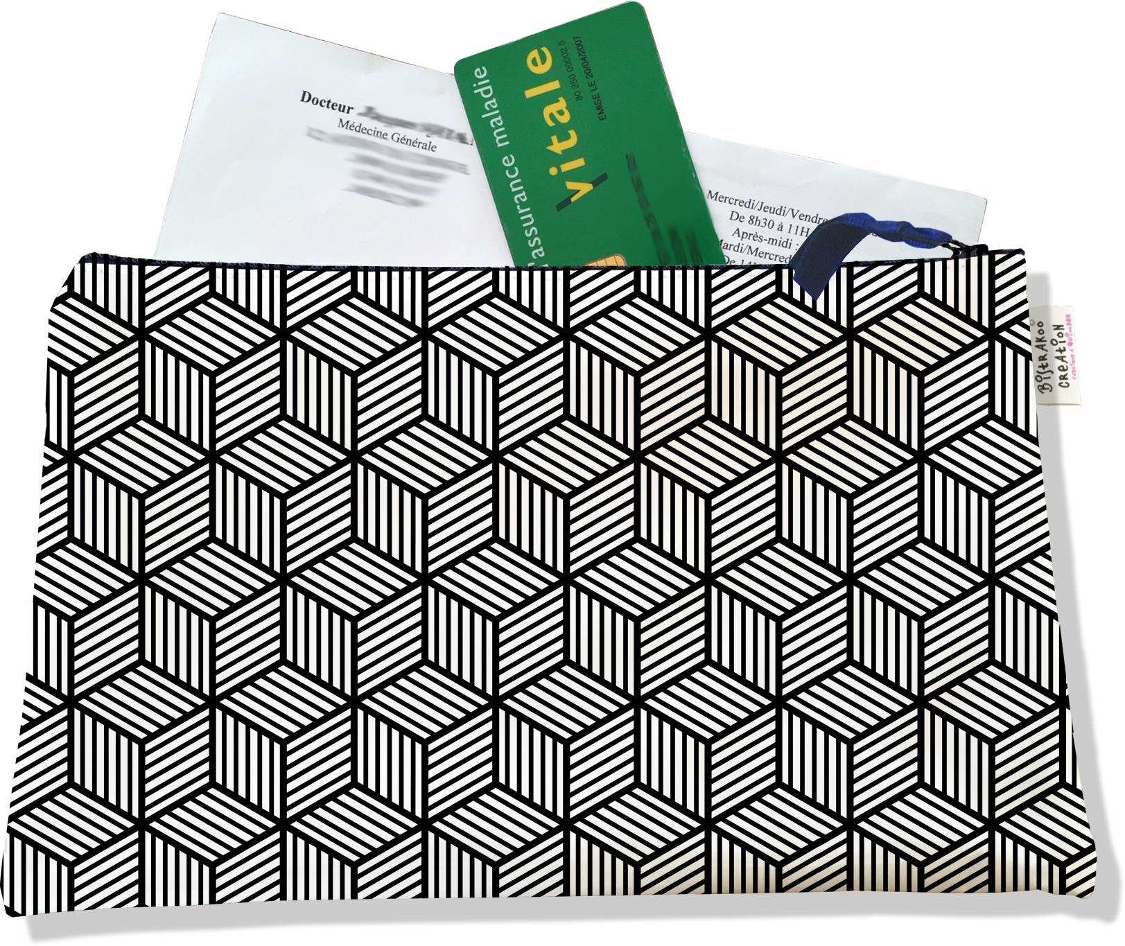 Porte ordonnances zippé pour homme motif Graphique noir et blanc 2164