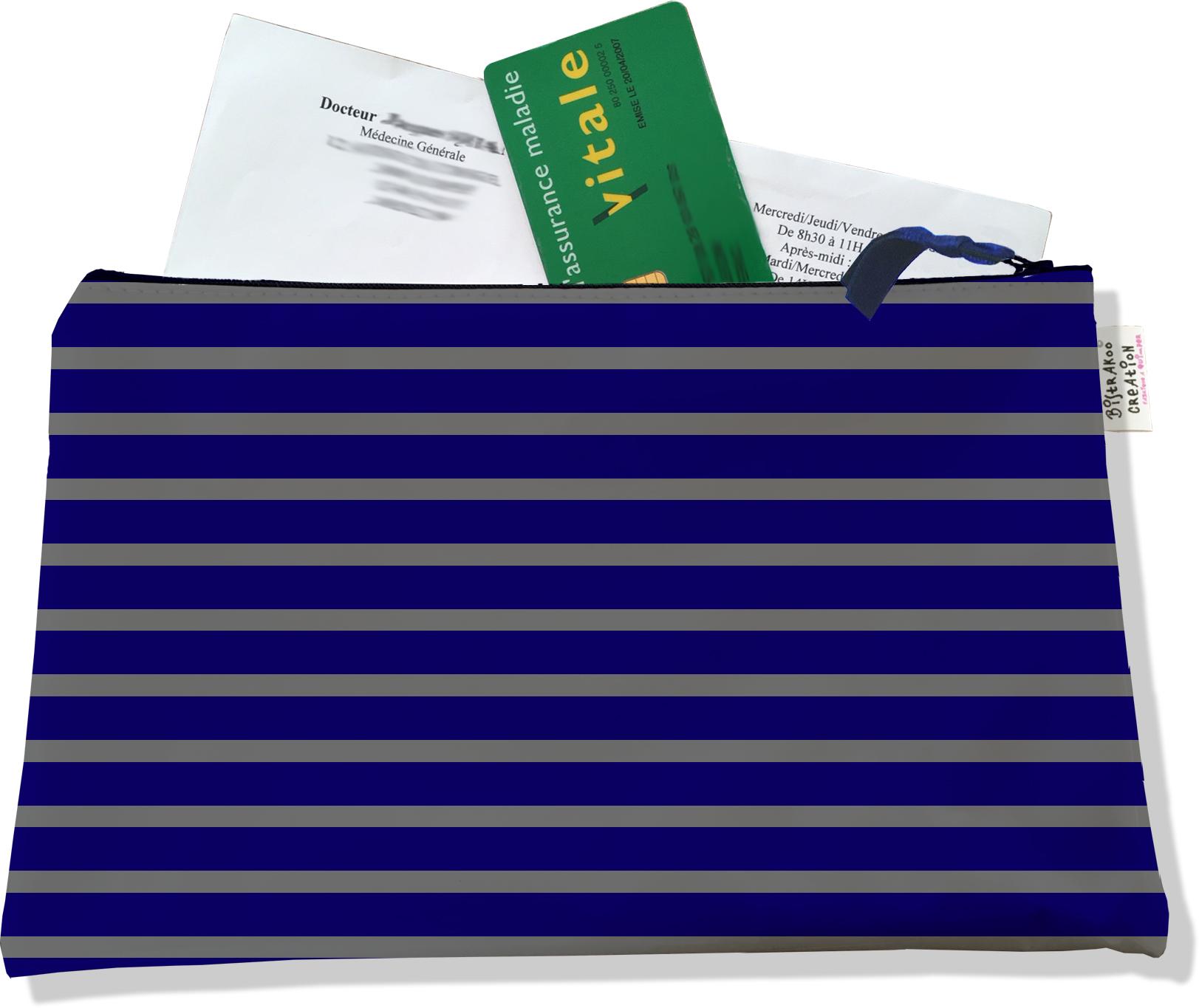 Porte ordonnances zippé pour homme motif Marinière bleu marine et grise 2174
