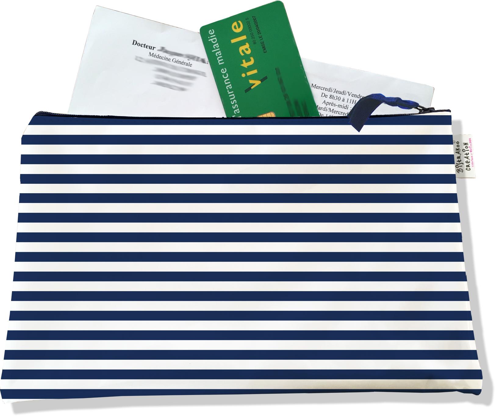 Porte ordonnances zippé pour homme motif Marinière bleu marine 2131