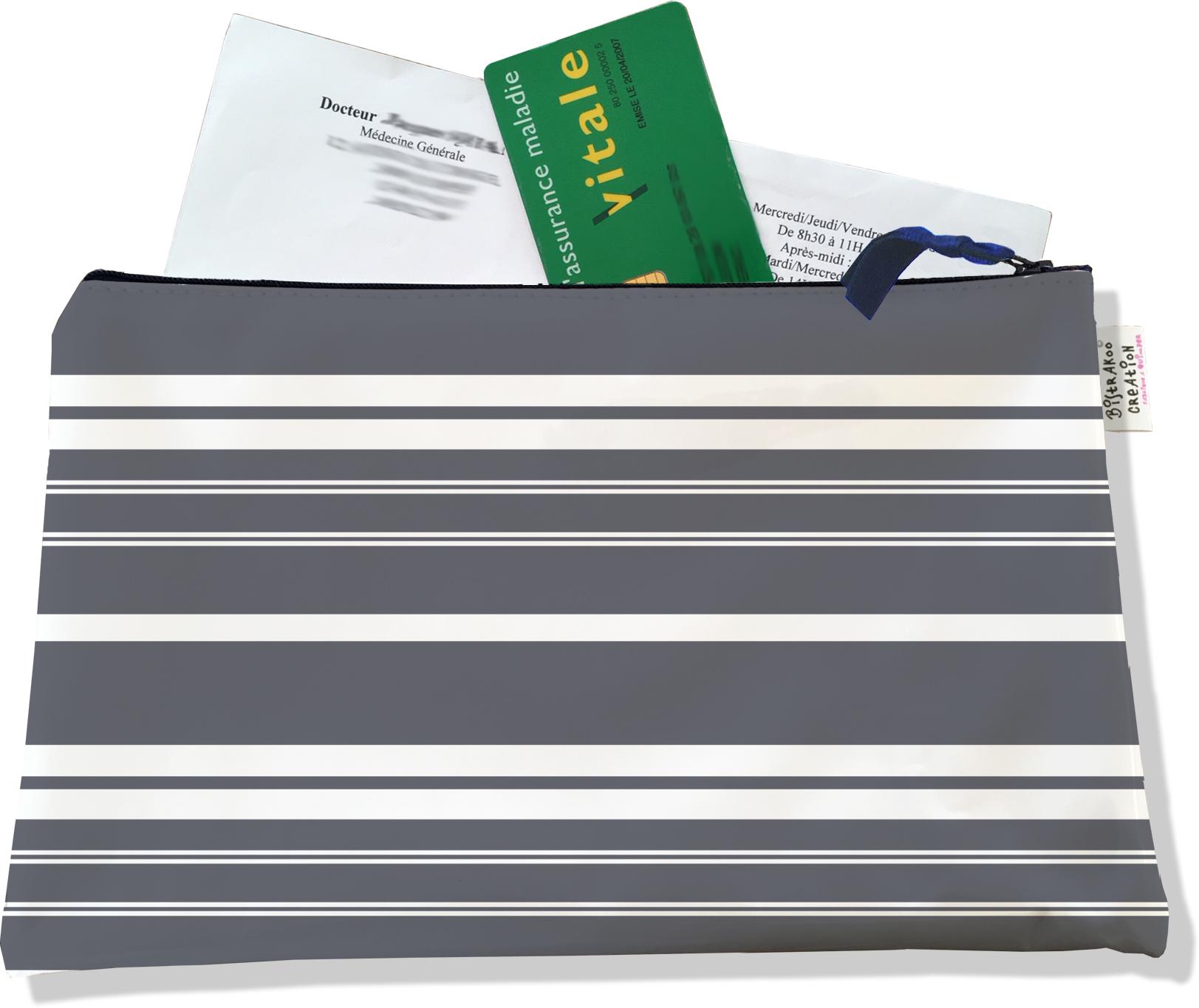 Porte ordonnances zippé pour homme motif matelas vintage 653