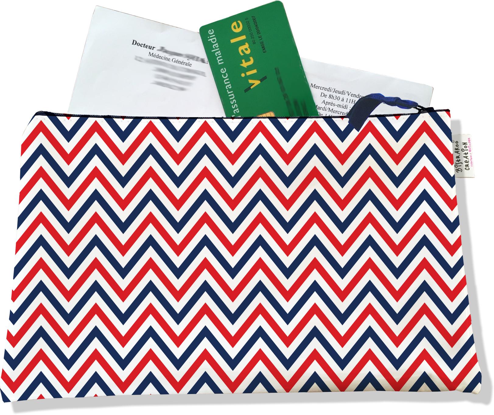 Porte ordonnances zippé motif Chevrons bleus blancs rouges 2125