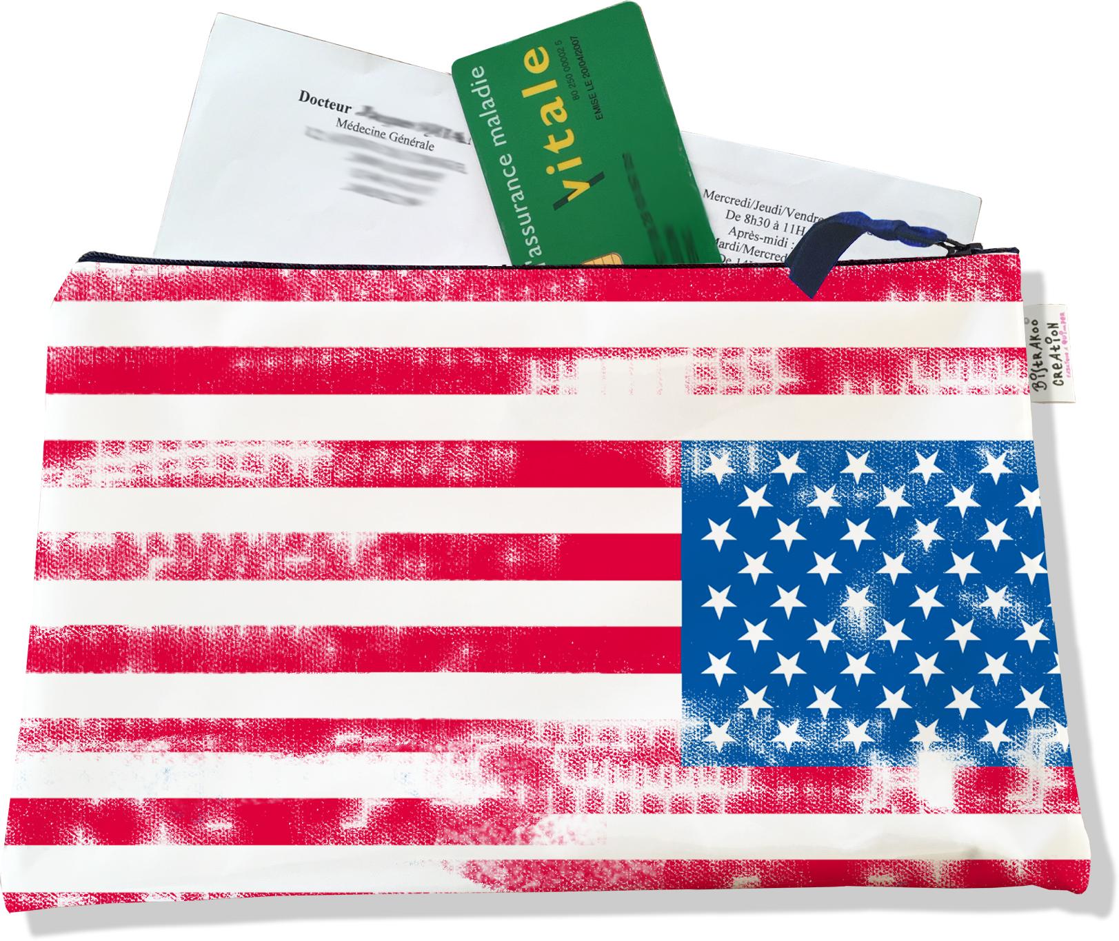 Porte ordonnances zippé motif Drapeau américain Stars and Stripes Vintage 751