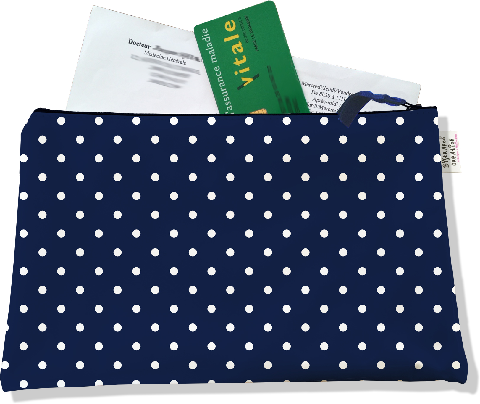 Porte ordonnances zippé motif Petits Pois blancs fond bleu marine 2099