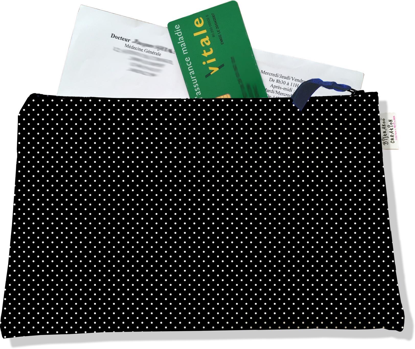 Porte ordonnances zippé motif Petits pois blancs fond noir 2066