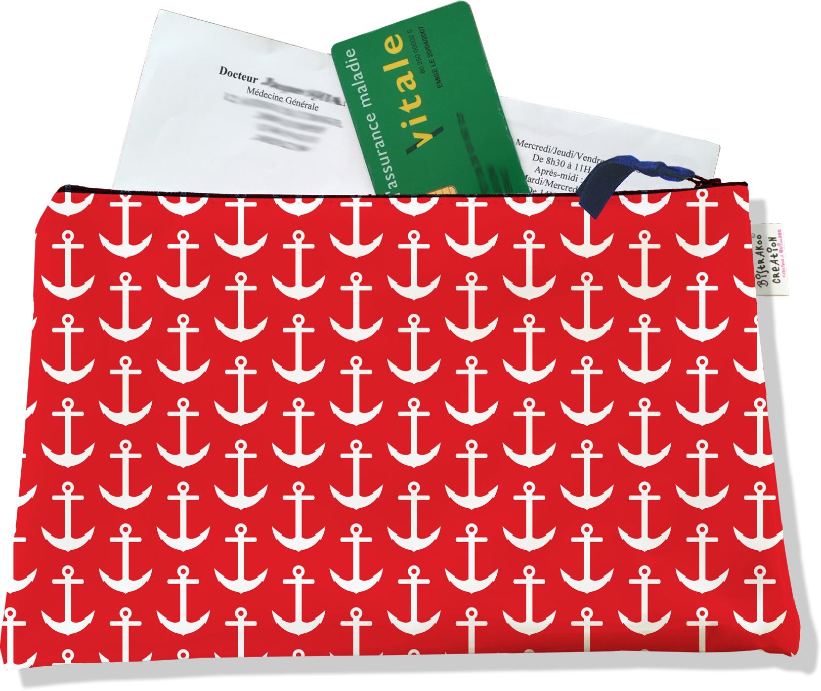 Porte ordonnances zippé pour homme motif Ancres blanches fond rouge 2121