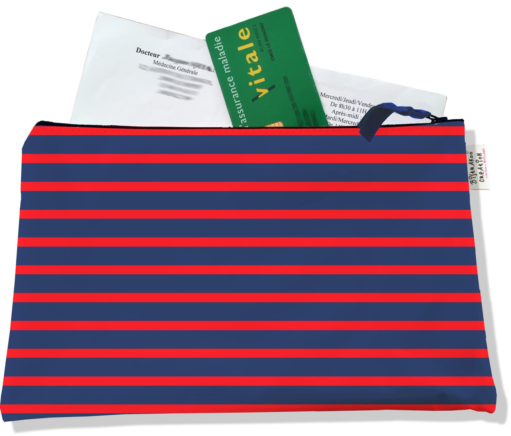 Porte ordonnances zippé pour homme motif Marinière bleu marine et rouge 2170