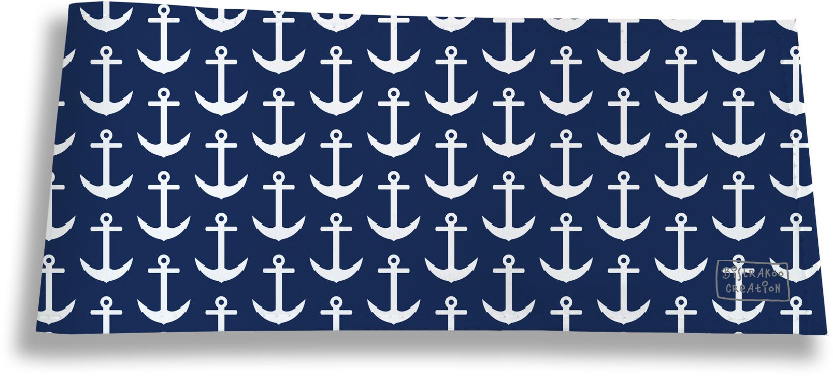 Porte-chéquier long horizontal pour homme motif Ancres blanches fond bleu marine 2128