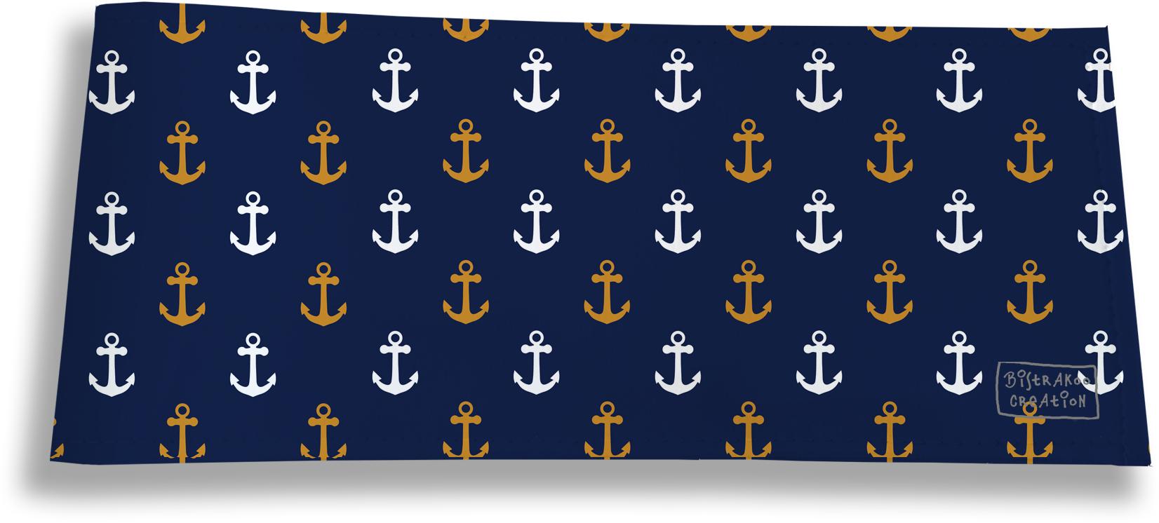 Porte-chéquier long horizontal pour homme motif Ancres fond bleu marine 2103