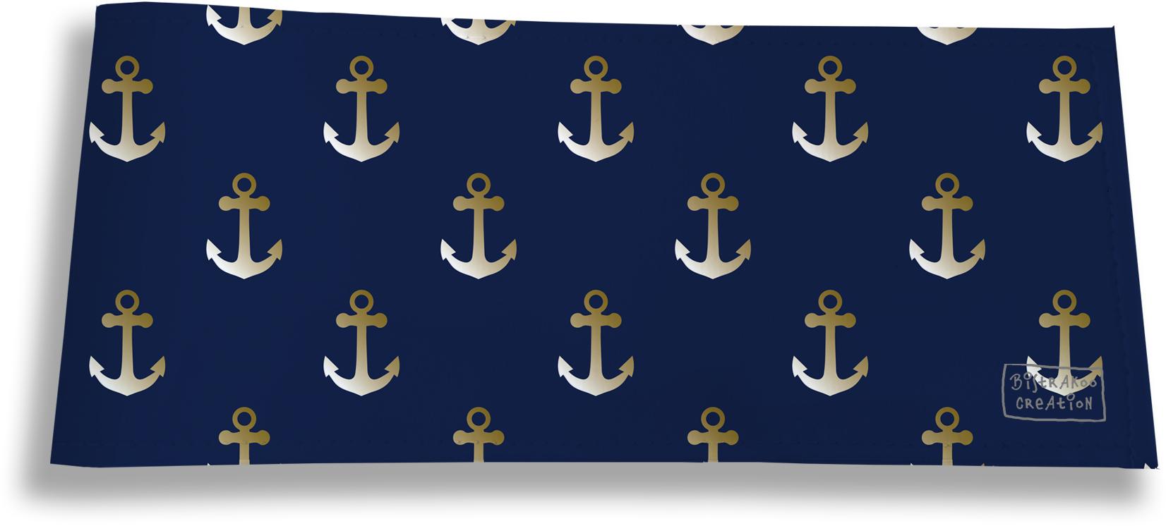 Porte-chéquier long horizontal pour homme motif Ancres fond bleu marine 2106
