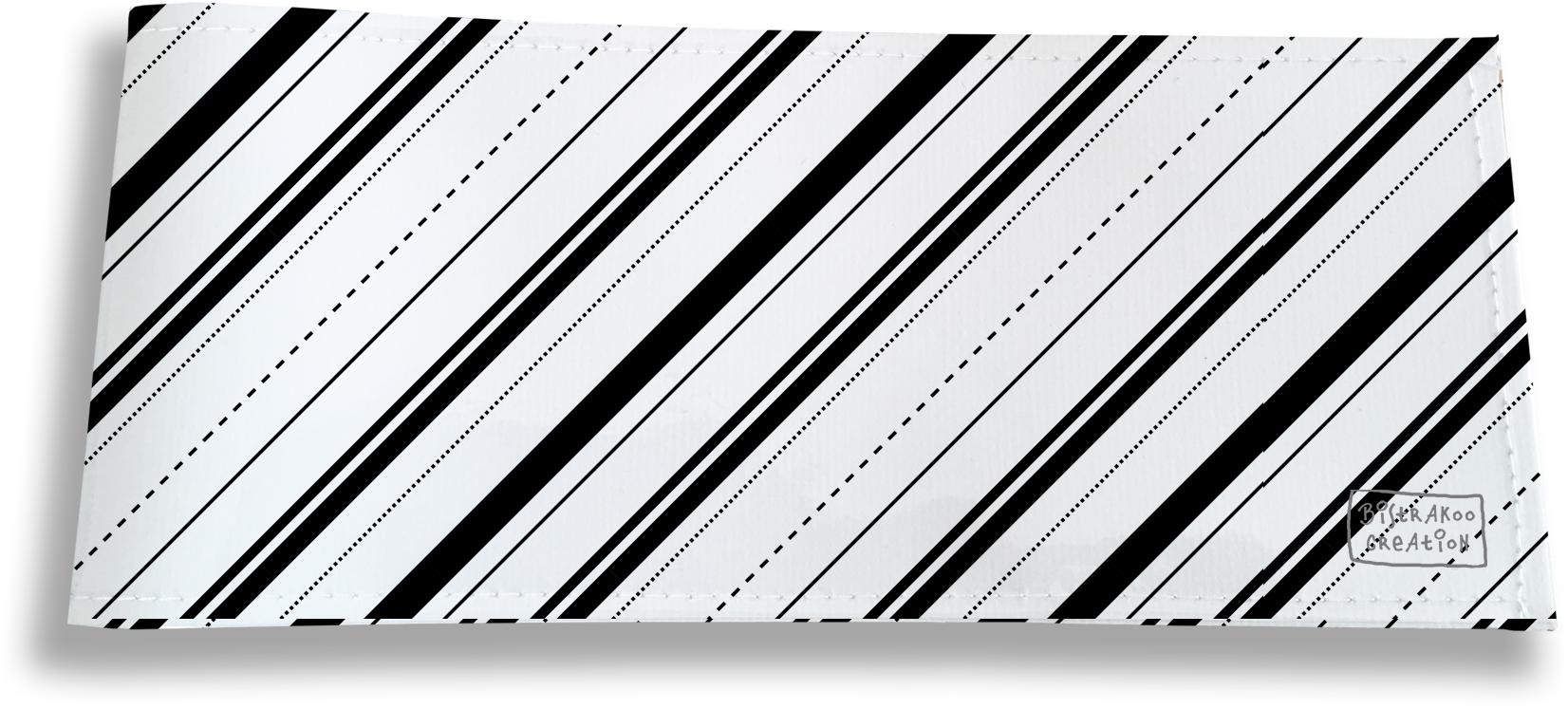Porte-chéquier long horizontal pour homme motif Bandes et Lignes noires fond blanc 2504