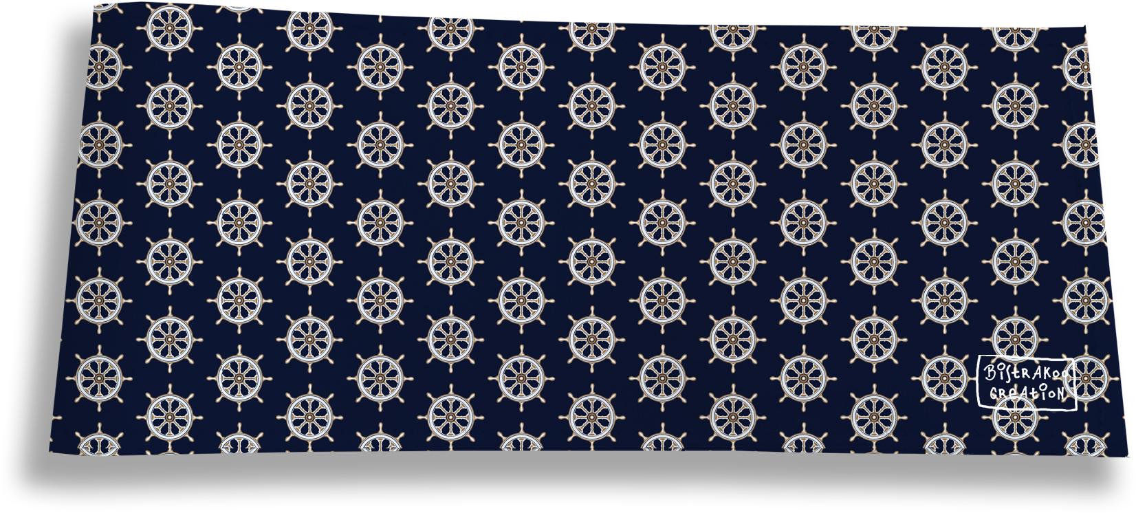 Porte-chéquier long horizontal pour homme motif Barres blanches fond bleu marine 2138