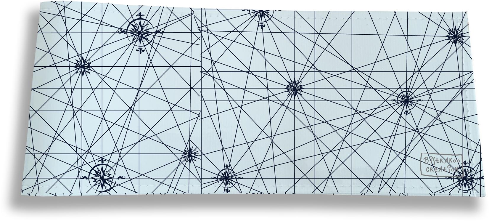 Porte-chéquier long horizontal pour homme motif Carte bleu marine fond bleu 2143