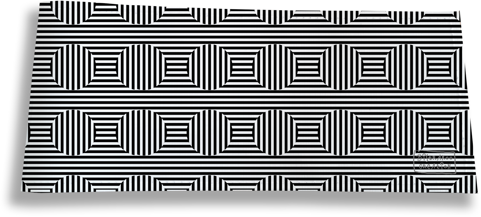 Porte-chéquier long horizontal pour homme motif Cinétique noir et blanc 2165