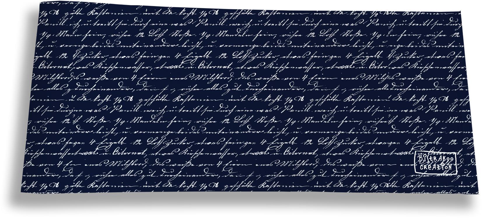 Porte-chéquier long horizontal pour homme motif Ecriture manuscrite fond bleu marine 2135