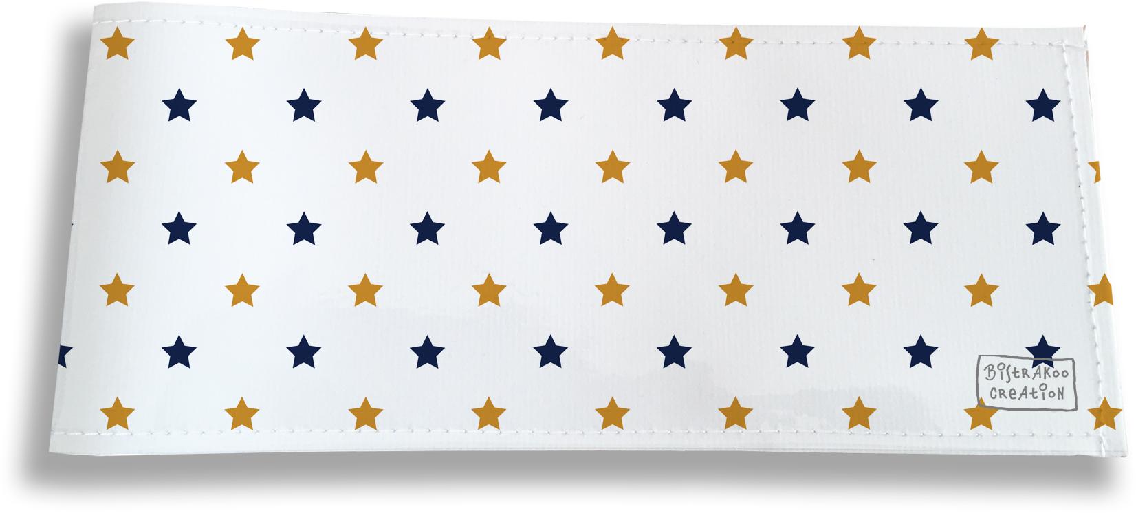 Porte-chéquier long horizontal pour homme motif Etoiles bleu marine et or 2101