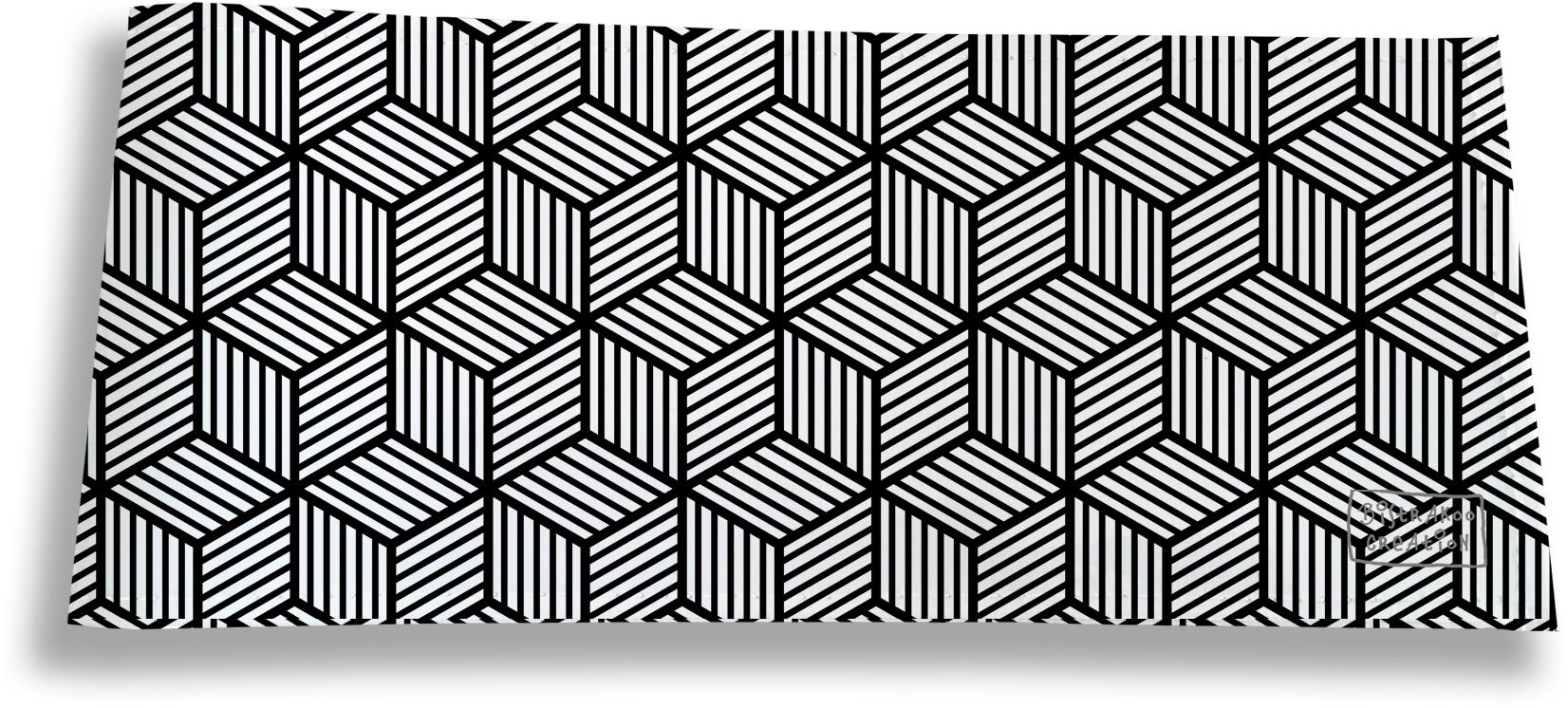 Porte-chéquier long horizontal pour homme motif Graphique noir et blanc 2164