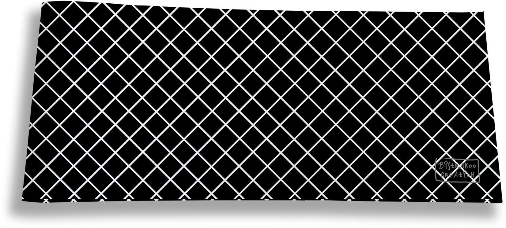 Porte-chéquier long horizontal pour homme motif Grille blanche fond noir 2507