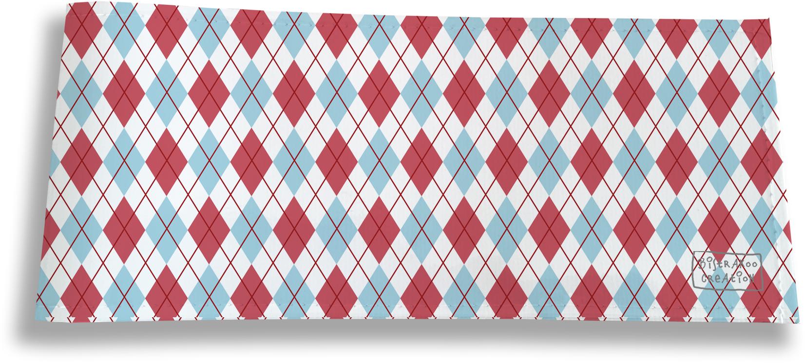 Porte-chéquier long horizontal pour homme motif Losanges bleus et roses 2147