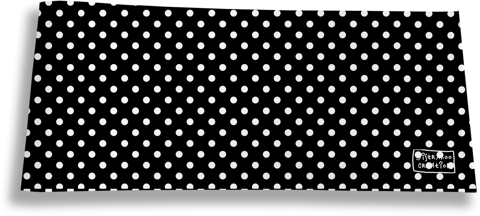 Porte-chéquier long horizontal motif Pois blancs fond noir 2011