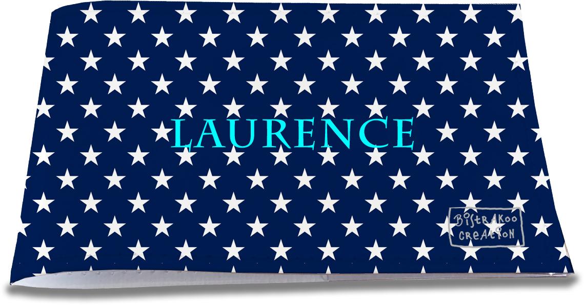 Porte-chéquier restaurant personnalisable pour femme motif Etoiles blanches fond bleu marine P2088-2015