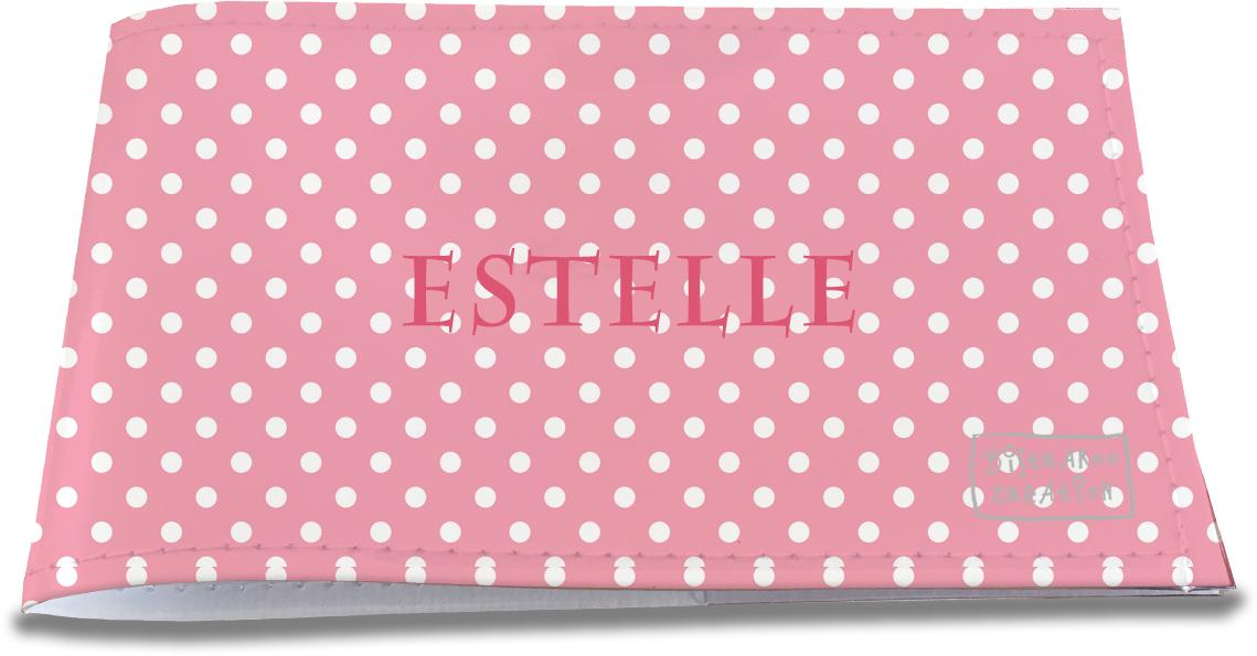 Porte-chéquier restaurant personnalisable pour femme motif Pois blancs fond rose P2060
