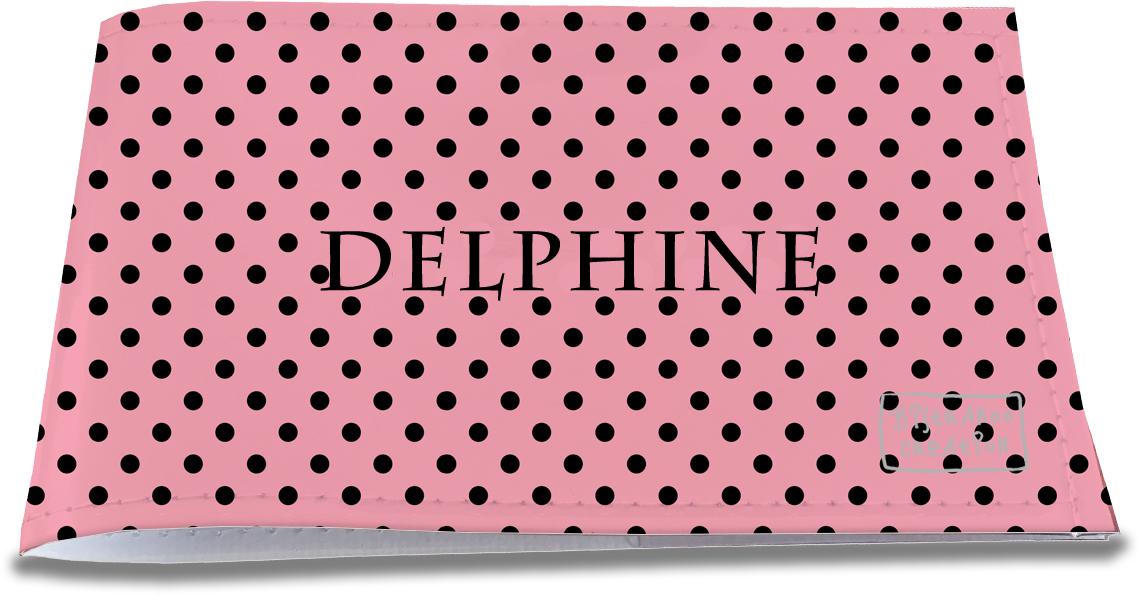 Porte-chéquier restaurant personnalisable pour femme motif Pois noirs fond rose P2061