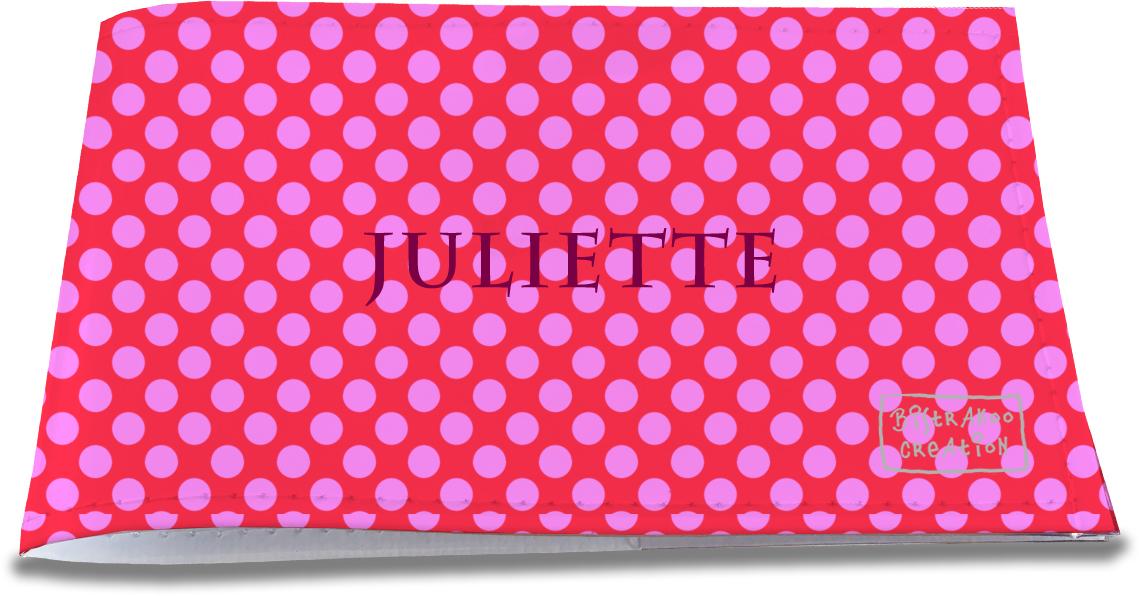 Porte-chéquier restaurant personnalisable pour femme motif Pois roses fond fushia P715