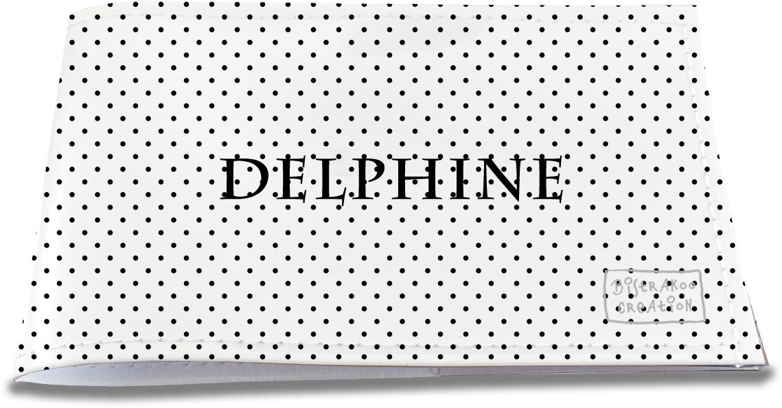 Porte-chéquier restaurant personnalisable pour femme motif Petits Pois noirs fond blanc P2065