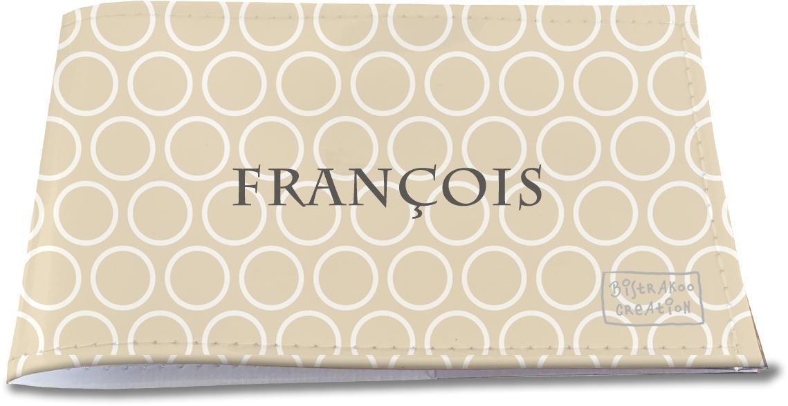 Porte-chéquier restaurant personnalisable pour homme motif Cercles blancs fond beige PCRP2109