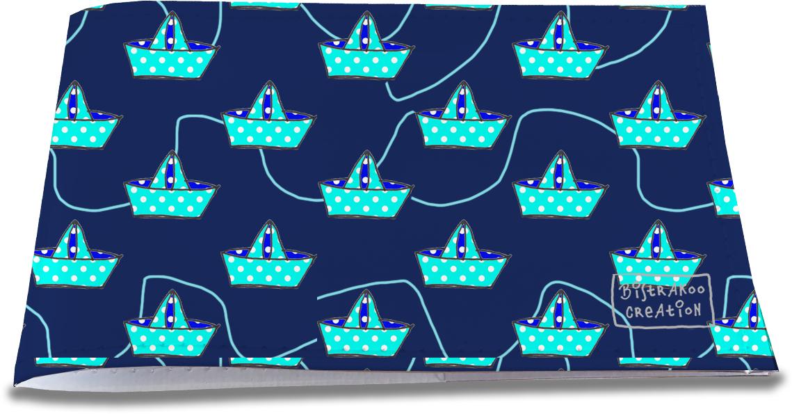 Porte-chéquier restaurant pour femme motif Bateaux en papiers bleus fond bleu marine 1394