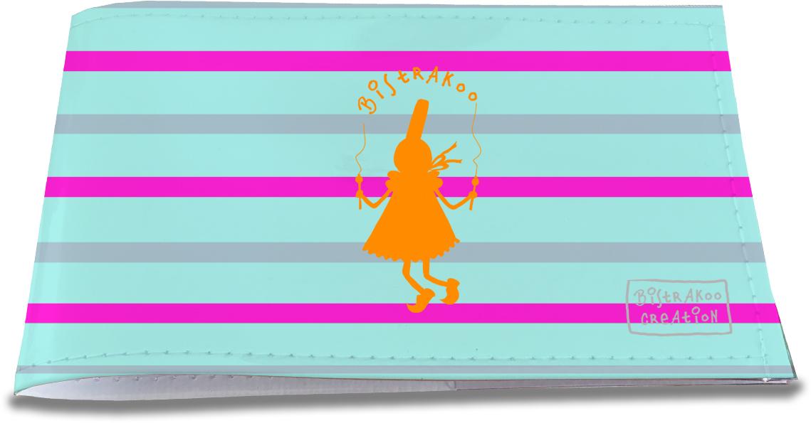 Porte-chéquier restaurant pour femme motif Bigoudène orange fond bleu marinière rose 1338