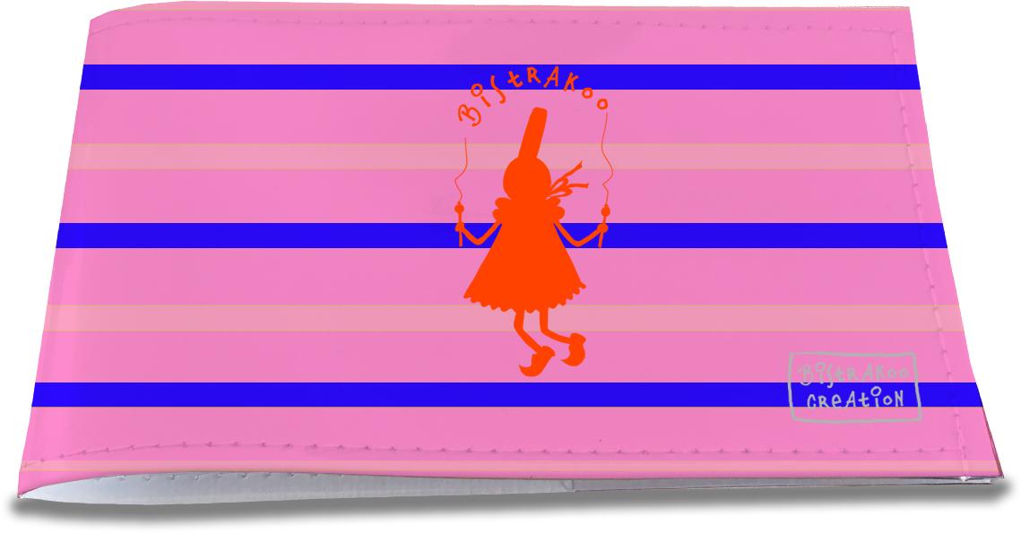 Porte-chéquier restaurant pour femme motif Bigoudène orange fond rose marinière bleue 1344